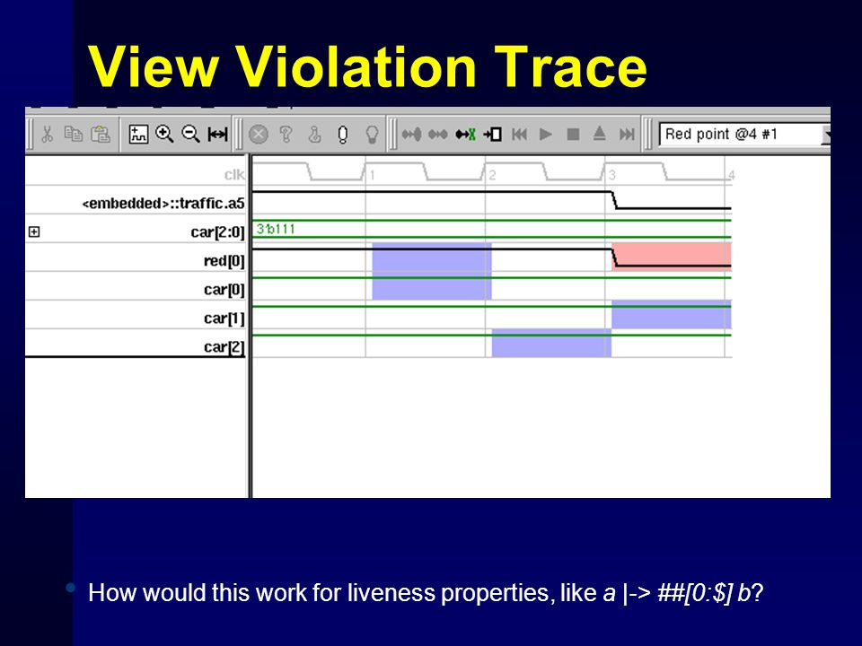 View Violation Trace How would this work for liveness properties, like a |-> ##[0:$] b